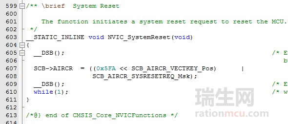 NVIC_SystemReset软件复位